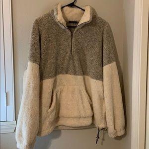 Teddy bear Doe and Rae fuzzy 3/4 zip sweatshirt